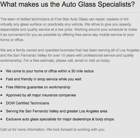 What makes us the Auto Glass Specialists?